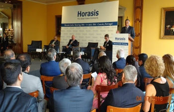 Minister of State for External Affairs & Overseas Indian Affairs Gen.(Dr.) V. K. Singh addresses the gathering at 8th India- Horasis Meeting at Cascais, Lisbon