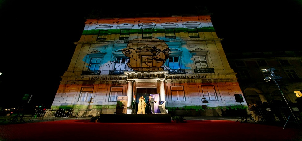 Celebrating 150 years of the Mahatma Glimpses of LED Projection at Praca do Comercio (02.10.2018)