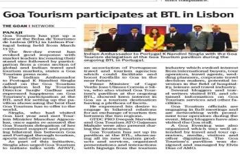 Participation of Goa Tourism Department in BTL Travel Market 2019 in Lisbon