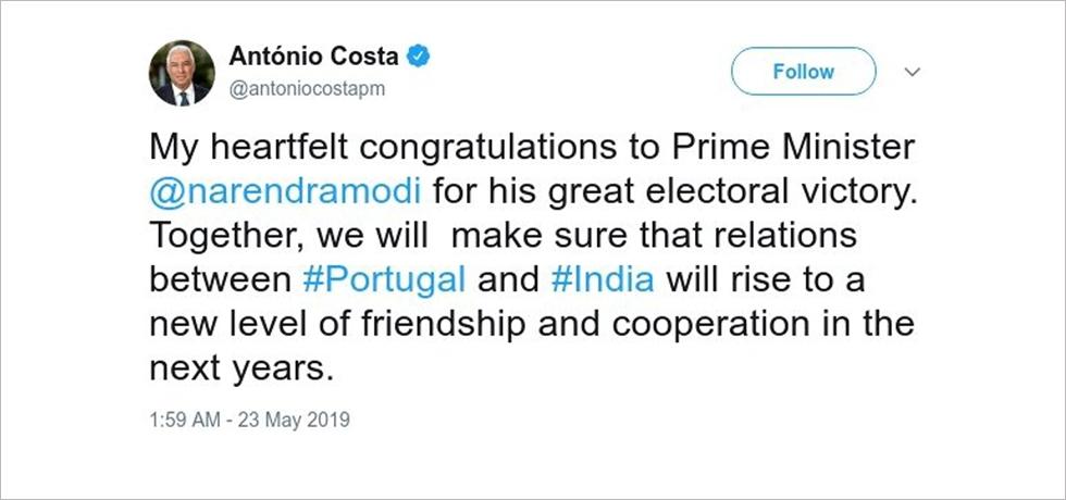 Prime Minister H.E. Dr. Antonio Costa's congratulatory message to Prime Minister H.E. Shri. Narendra Modi on his electoral victory (23.05.2019)
