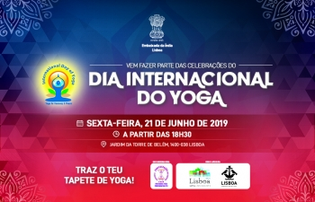 Celebrating 5th International Day of Yoga at Belem Tower Garden, 21 June 2019