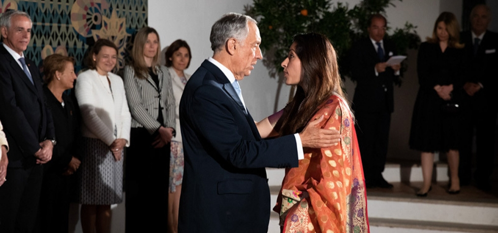 Ambassador H.E. Mrs. K. Nandini Singla greeting President H.E. Dr. Marcelo Rebelo de Sousa on Portugal Day at the Convent of Santa Clara in Portalegre (09.06.2019)