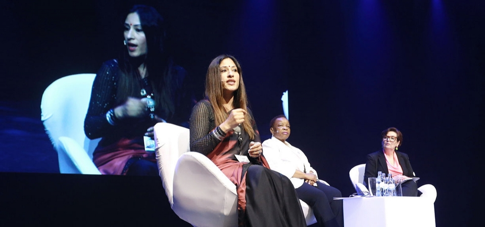 H. E K Nandini Singla speaking on women's contribution and influence in a constantly changing world at Leadership Summit Portugal (October 1, 2019)