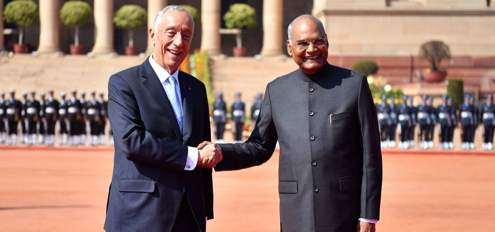 President of Portugal H.E Marcelo Rebelo de Sousa arrived in India to a warm welcome by President of India H.E Ramnath Kovind on his State visit to India (14.01.2020)