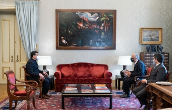 Ambassador Shri Manish Chauhan presented his credentials to the President of the Portuguese Republic H.E. Marcelo Rebelo de Sousa on 2nd March 2021.