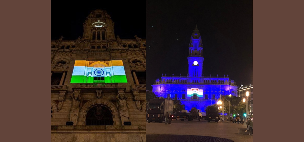 On the occasion of the historic & first-ever India- EU+27 All Leaders' Meeting hosted by Portugal on May 8th, the City Hall of Porto was lit up at night in the Indian national colours.