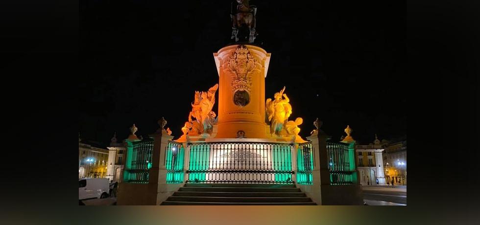 D. José I (King Joseph I of Portugal) Statue in the Praça do Comércio illuminated with the Indian tricolour