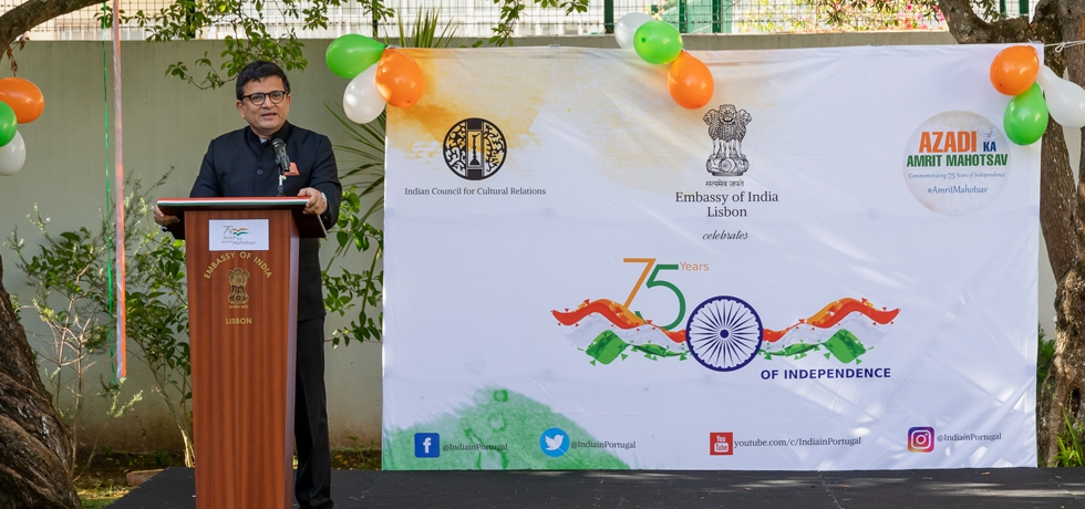Ambassador addressing the gathering on the occasion of the 75th Independence day celebrations at India House, August 15 2021