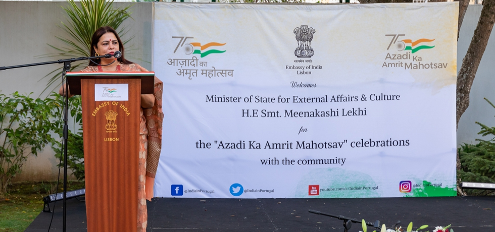 """""""Azadi Ka Amrit Mahotsav"""" celebrations with the community during the visit of Minister of State for External Affairs and Culture H.E Smt. Meenakashi Lekhi"""